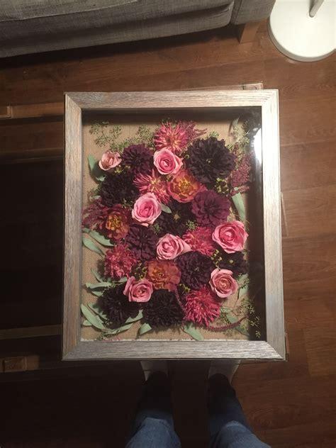 Wedding Bouquet In Shadow Box my diy dried wedding bouquet shadow box weddingbee