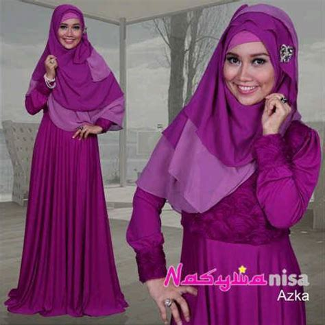 Busana Muslim Elegance azka by nasywa magenta baju muslim gamis modern