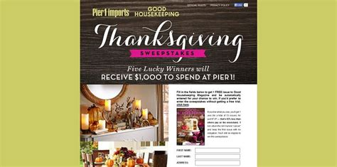 Good Housekeeping Sweepstakes 2015 - goodhousekeeping com pier1 pier 1 imports and good housekeeping thanksgiving sweepstakes
