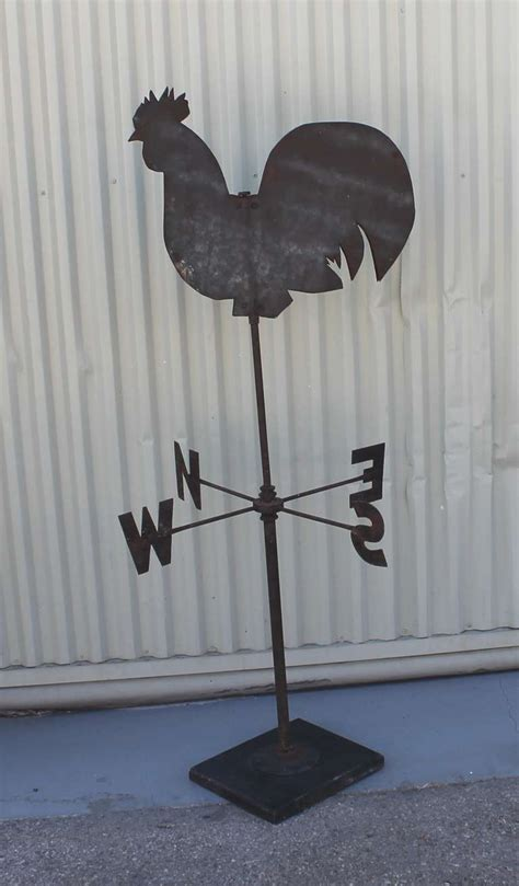 Handmade Weathervanes - 19th century handmade sheet iron rooster weather vane for