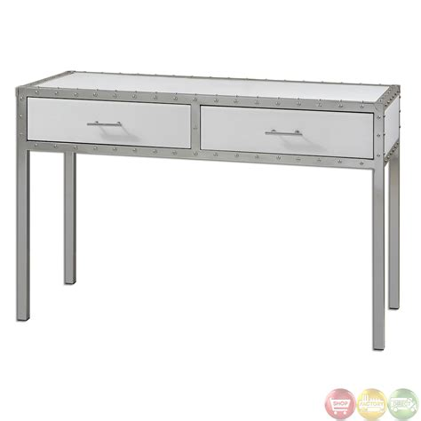 White Hallway Console Table Bryton White Riveted Polished Chrome Console Table 24393 Ebay