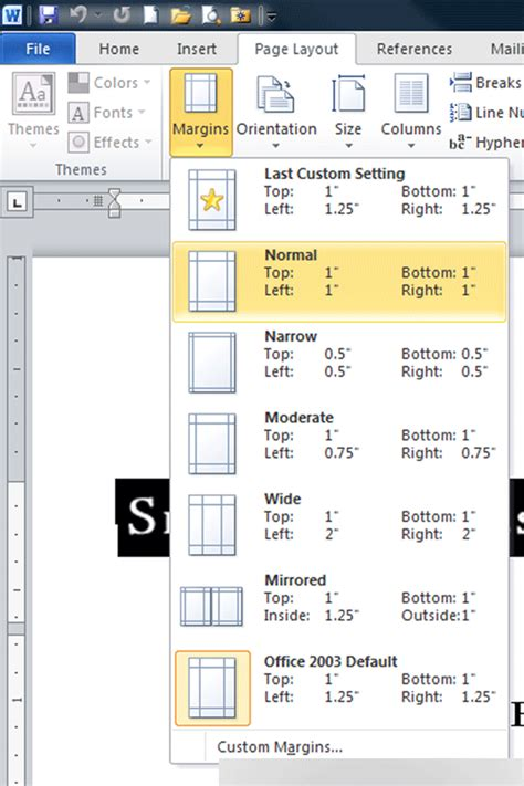 setting margins in word how do you set margins to 1 inch in open office