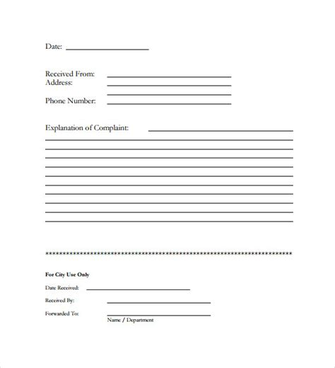 sle customer complaint form exles 7 free