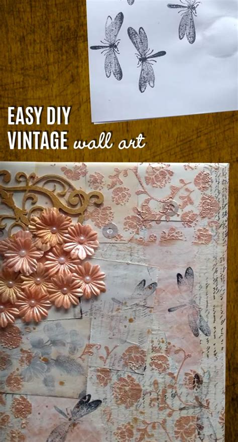 vintage craft projects vintage wall made easy diy mixed media canvas