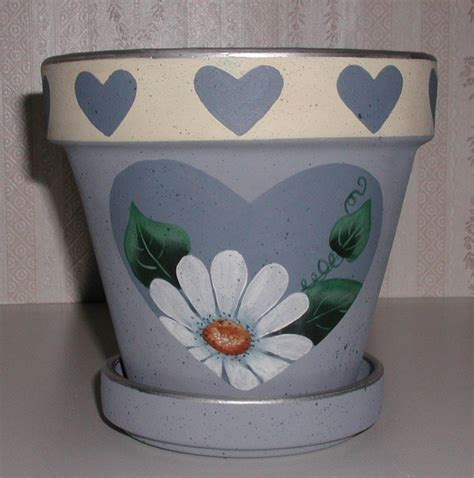 clay potsyard  gardenhandpainted lee wismer