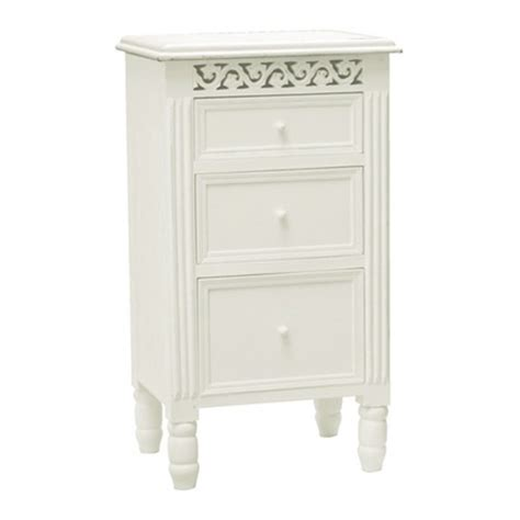 belgravia chic 3 drawer bedside cabinet white