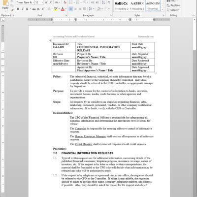 policy and procedure template for office microsoft office procedure manual template sop policies