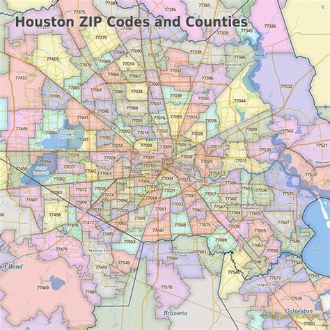 printable zip code map houston tx maptechnica zip code city county boundary maps geodata