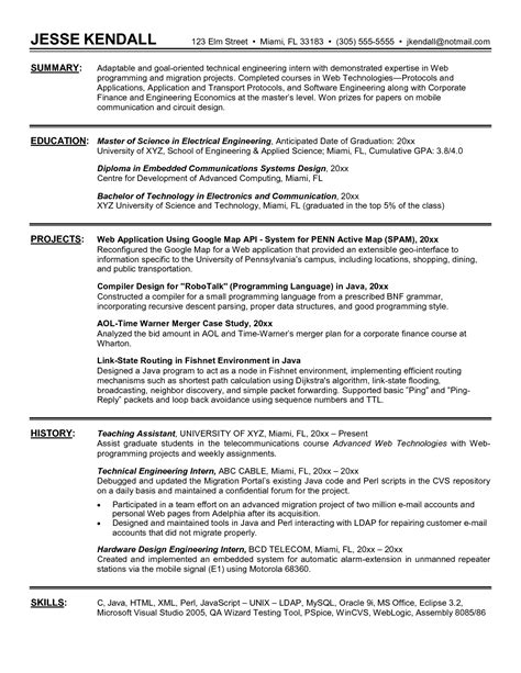Resume Internship engineering internship resume the best resume