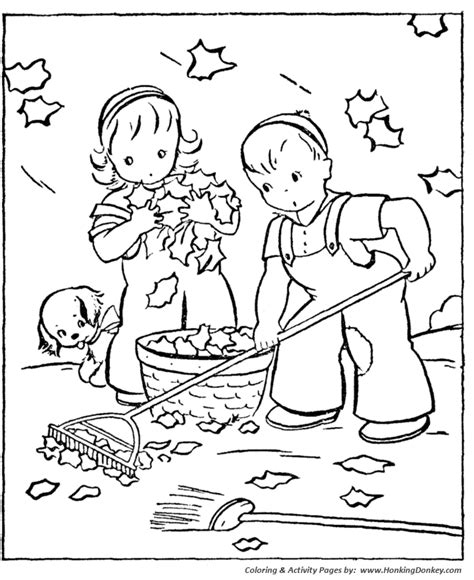 fall coloring pages kids fall clean up coloring page