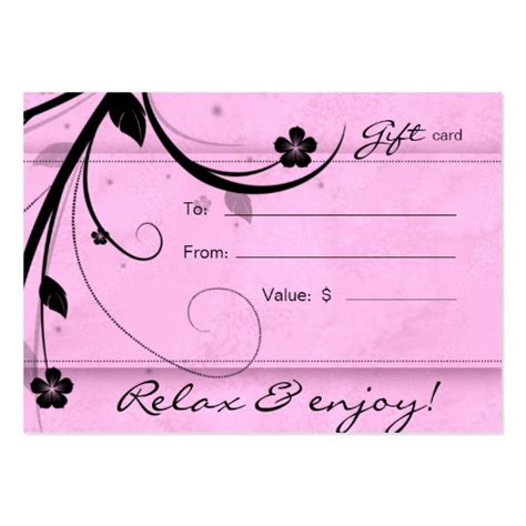 salon gift card spa flower watery pink pack of chubby