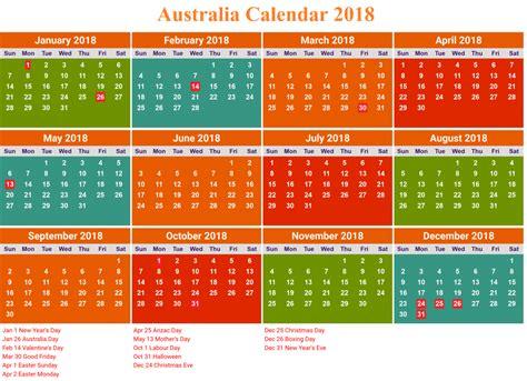 2018 Calendar Wa 2018 Printable Calendar With Australia Holidays Free