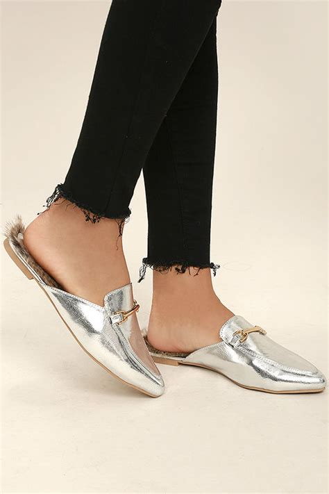 Faux Fur Loafers chic silver loafer slides faux fur loafers slip on
