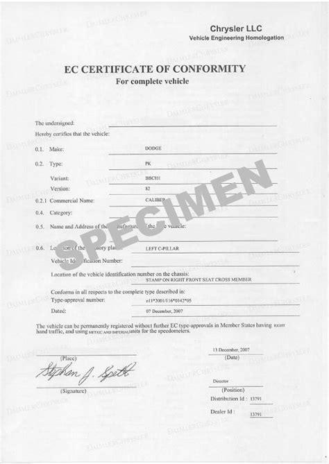 Certificat de conformité COC Opel