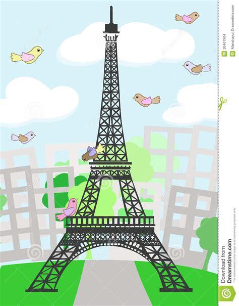 images paris cartoon paris with birds stock images image 30461904