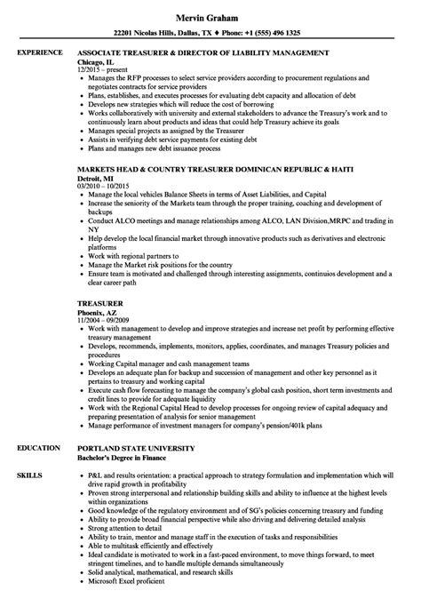 resume treasurer resume ideas
