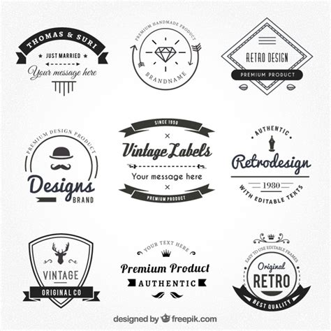 Logo Etiketten by Vintage Labels In Hispter Style Vector Premium