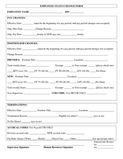 status change form template employee status change forms find word templates
