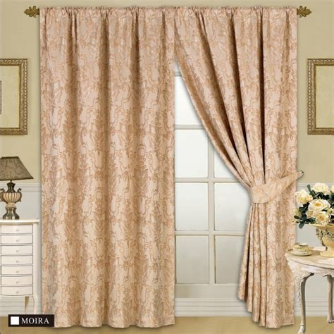 fully lined designer jacquard curtains with tie back melanie gold