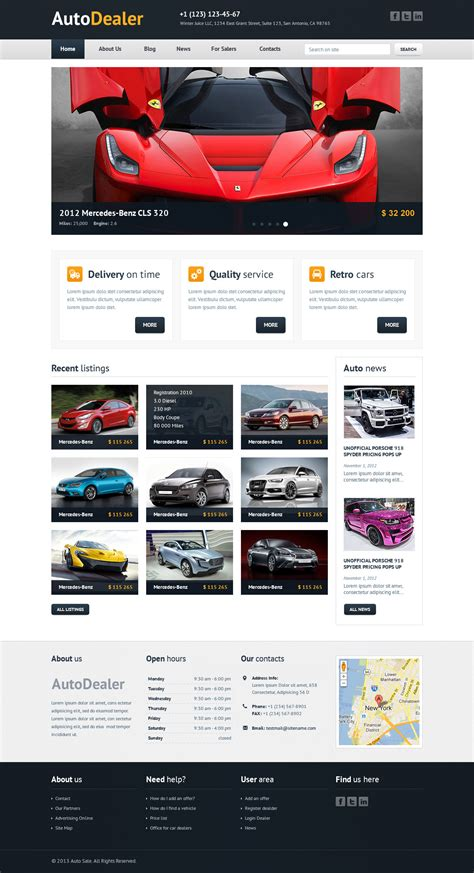 auto dealer car dealer psd template wordpress theme