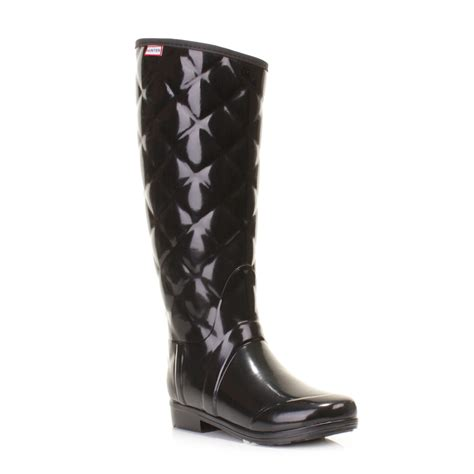 Womens Quilted Wellies by Womens Sandhurst Black Quilted Wellington Boots Wellies Size 3 8 Ebay