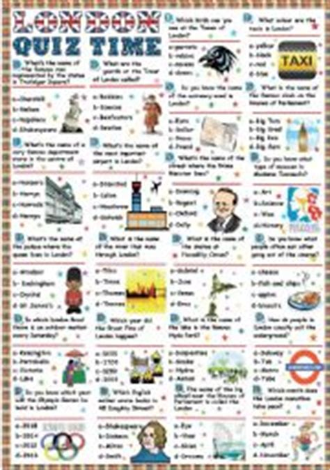 quiz questions london trivia questions esl students english teaching