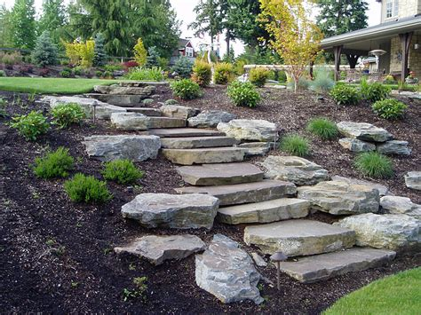 Rock Garden Steps Slope Landscaping With Hardscapes Patios Walls Landscaping Ideas Pinterest