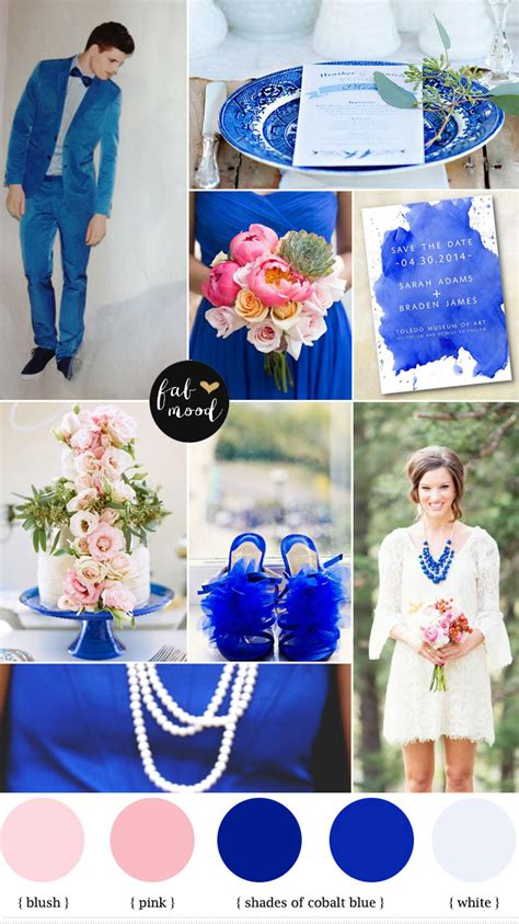 blue pink and white wedding cobalt blue wedding colour palette fabmood