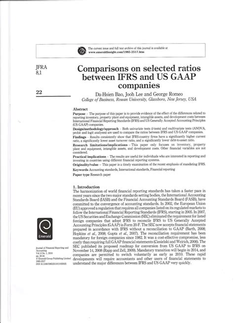 Gaap Vs Ifrs Research Paper by Comparisons On Selected Ratios Between Ifrs And Us Gaap Companies Pdf Available