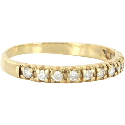 vintage 14 karat yellow gold wedding half stack