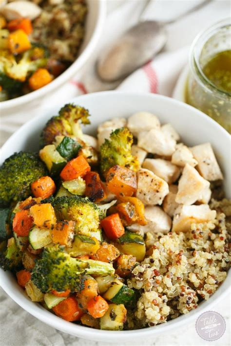 vegetables w protein quinoa bowls with roasted vegetables and chicken table