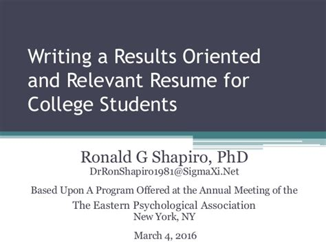 Results Oriented Resume by Writing A Results Oriented And Relevant Resume For College