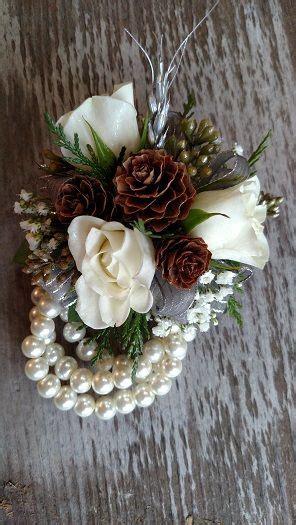 pineconecorsage pearl wristlet corsage with mini