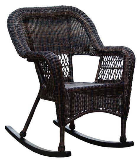 dark brown wicker outdoor patio rocking chair