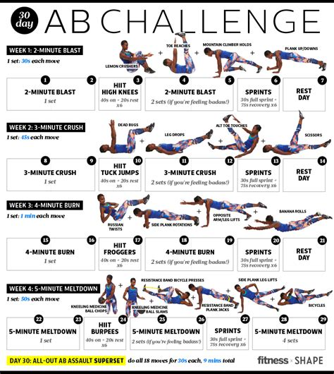 30 days abs challenge calendar melt away belly in just 30 days with this simple