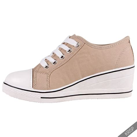 sneakers with a heel womens gem canvas high heel wedge trainers sneakers low
