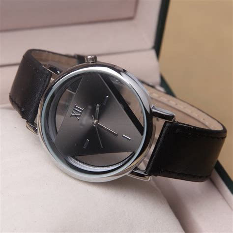 jam tangan triangle quartz yq007 black