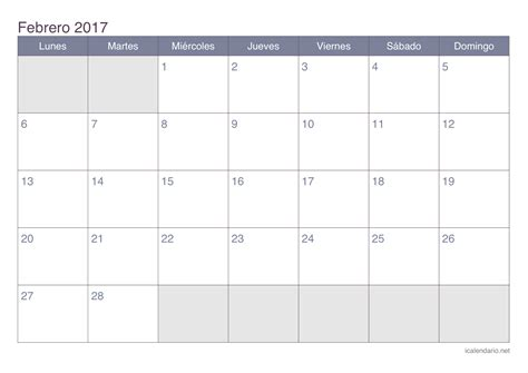 Febrero Calendario 2017 Calendario Febrero 2017 Para Imprimir Icalendario Net