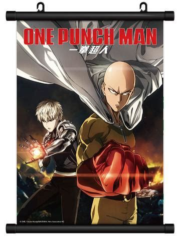 Poster Anime One Punch Saitama Genos 1 one punch cloth wall scroll saitama and genos
