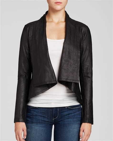faux leather drape jacket nydj drape front faux leather jacket bloomingdale s
