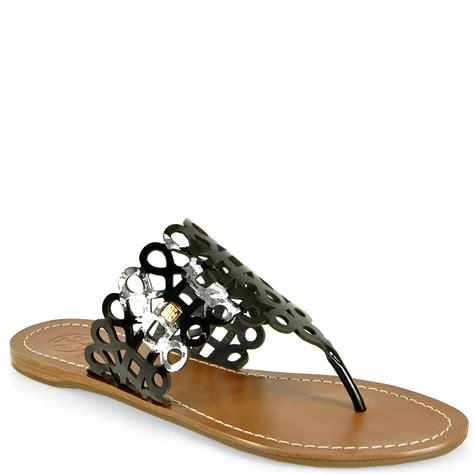 black burch sandals burch davy flat sandal in black lyst