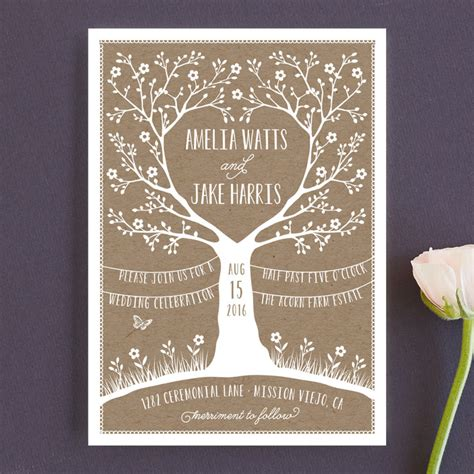wedding invitations woodland kraft woodland tree wedding invitations by coco and ellie