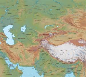 Map Central Asia by Central Asia Physical Map
