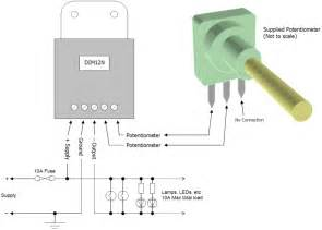 dim12n led dimmer rotary potentiometer controlled negative output pwm 12v 24v 10a low voltage