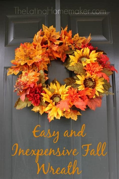 Easy And Inexpensive Fall Wreath Front Doors Fall Fall Wreath Ideas Front Door