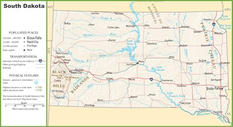 printable south dakota road map maps update 500327 south dakota travel map south