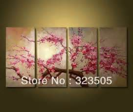 Hand Painted Japanese Vase 4 Piece Canvas Wall Art Modern Abstract Pink Cherry