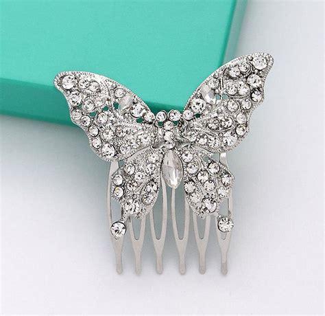 Butterfly Hair Comb butterfly hair comb bridal hair rhinestone silver