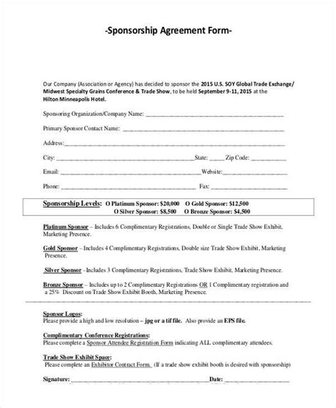 7 Sponsorship Agreement Form Sles Free Sle Exle Format Download Sponsorship Agreement Template