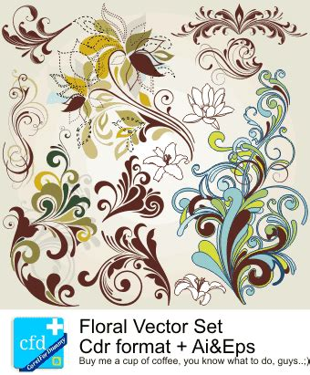 mengubah format eps ke cdr floral vector set 2 corel draw tutorial and free vectors